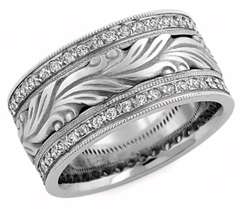 Handcarved Paisley Diamond Wedding Band